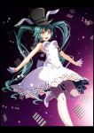1girl :d animal_ears aqua_hair armpits bare_arms bare_shoulders black_border black_headwear blush border breasts card commentary_request covered_navel dress fake_animal_ears gloves gradient gradient_background grey_legwear half_gloves hat hatsune_miku high_heels highres leg_up long_hair looking_at_viewer medium_breasts open_mouth orange_eyes outstretched_arms playing_card project_diva_(series) purple_background rabbit_ears seamed_legwear side-seamed_legwear sleeveless sleeveless_dress smile solo standing standing_on_one_leg top_hat tsukishiro_saika very_long_hair vocaloid white_dress white_footwear white_gloves