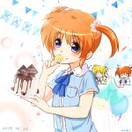 2girls birthday birthday_cake blonde_hair blue_eyes blush cake couple embarrassed fate_testarossa food hair_ornament hair_ribbon happy happy_birthday kerorokjy long_hair lyrical_nanoha mahou_shoujo_lyrical_nanoha mahou_shoujo_lyrical_nanoha_a's multiple_girls orange_hair red_eyes red_string ribbon scrunchie short_hair short_twintails smile string takamachi_nanoha twintails white_ribbon yuri