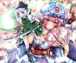 2girls :/ black_footwear black_legwear blue_eyes blue_headwear blue_kimono blurry bracelet breasts cherry_blossoms cleavage commentary_request depth_of_field eyebrows_visible_through_hair fan fire_maxs folding_fan frilled_skirt frills full_body furrowed_eyebrows glint green_skirt green_vest hair_between_eyes hair_ribbon hat highres holding holding_fan holding_sword holding_weapon japanese_clothes jewelry kimono kneehighs konpaku_youmu konpaku_youmu_(ghost) large_breasts leaning_to_the_side looking_at_viewer mob_cap multiple_girls obi pink_eyes pink_hair puffy_short_sleeves puffy_sleeves ribbon saigyouji_yuyuko sarashi sash shirt short_hair short_sleeves silver_hair skirt small_breasts smile standing standing_on_one_leg sword touhou tree upper_body vest weapon white_shirt