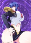 1girl ass_visible_through_thighs black_skirt blue_eyes blue_hair blush breasts character_name covered_nipples cropped_jacket crotch_seam earrings epaulettes eyebrows_visible_through_hair hair_over_one_eye hand_on_hip highres jewelry kisaragi_yuki large_breasts lipstick luchs makeup midriff nail_polish navel necktie open_mouth panties pantyshot pantyshot_(standing) pink_nails red_lips red_neckwear saber_marionette_j shirt short_hair side_slit simple_background skirt solo standing thighs underwear uniform white_panties white_shirt