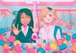 2girls absurdres black_hair blonde_hair capsule collared_shirt dark_skin food fruit gashapon hair_ornament hairclip hands_up hatsune_miku highres kirby kirby_(series) long_hair mole mole_under_mouth multicolored_hair multiple_girls nintendo one_eye_closed open_mouth orange orange_slice original pink_eyes routexx shirt short_hair smile strawberry tongue tongue_out two-tone_hair upper_body vocaloid white_shirt yellow_eyes