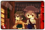 2girls artist_name bag blue_hakama blurry brown_eyes brown_hair chibi commentary_request cowboy_shot depth_of_field green_hakama hakama hakama_skirt hand_holding hiryuu_(kantai_collection) japanese_clothes kaga_(kantai_collection) kantai_collection kimono long_hair multiple_girls one_side_up paper road short_hair side_ponytail street taisa_(kari) tasuki thumb_sucking yellow_kimono