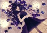 1girl black_dress black_hair camera crossed_arms dress from_above long_hair looking_at_viewer lying on_back open_mouth original photo_(object) seikai_meguru sleeveless sleeveless_dress solo tile_floor tiles violet_eyes