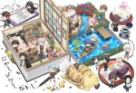 6+boys ? aqua_hair ball bathing bed black_hair blue_eyes blue_hair boat book bridge brown_hair calligraphy_brush cellphone chair chibi closed_eyes cup desk earphones earphones eating floorplan flower food fox glasses hair_over_one_eye highres hizen_tadahiro horikawa_kunihiro ink_bottle itou_(mogura) japanese_clothes jirou_tachi kamekichi kasen_kanesada kogitsunemaru konnosuke kousetsu_samonji labcoat lily_pad long_hair low-tied_long_hair lying male_focus miniboy multiple_boys nankaitarou_chouson on_back ookurikara open_mouth oriental_umbrella otegine paintbrush phone pink_hair plant ponytail potted_plant purple_hair red_eyes redhead rock sayo_samonji sengo_muramasa_(touken_ranbu) shokudaikiri_mitsutada shorts sitting smartphone smile soccer_ball souza_samonji taikogane_sadamune teacup tonbokiri_(touken_ranbu) touken_ranbu track_suit tsurumaru_kuninaga turtle umbrella urashima_kotetsu violet_eyes wagashi watercraft white_hair wind_chime yagen_toushirou yamabushi_kunihiro yamanbagiri_chougi yamanbagiri_kunihiro