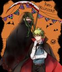2boys ahoge alternate_costume amami_rantarou bat belt black_legwear blood bloody_weapon brown_belt cape commentary_request costume danganronpa eyebrows_visible_through_hair face_mask fang gloves green_eyes green_hair hair_between_eyes halloween_costume happy_halloween long_hair male_focus mask miyuzu multiple_boys new_danganronpa_v3 pants scythe shinguuji_korekiyo shirt short_hair skin_fang striped vampire vampire_costume weapon white_gloves white_shirt yellow_eyes