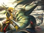 animal armor blonde_hair blue_eyes chainmail clouds cloudy_sky commentary dragon english_commentary fantasy flag flagpole flying foreshortening greaves hachijuu hair_ornament hairclip helmet holding holding_reins holding_sword holding_weapon horse kagamine_rin medieval outdoors plume pointing_sword riding short_hair sky sword vocaloid weapon wyvern