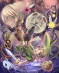 1boy branch clock clock_tower deku_scrub dual_persona falling fierce_deity fireworks goron instrument link mask moon moon_(majora's_mask) nintendo ocarina skull_kid suzumiya_misa tael tatl the_legend_of_zelda the_legend_of_zelda:_majora's_mask tower young_link zora