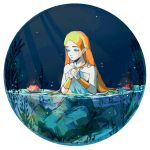 1girl aqua_eyes artist_name blonde_hair blush circle dress flower freckles hands_together hands_up highres jewelry lily_pad long_hair necklace nintendo partially_submerged pink_flower plant pointy_ears princess_zelda routexx sitting solo strapless strapless_dress the_legend_of_zelda the_legend_of_zelda:_breath_of_the_wild water_lily_flower white_dress