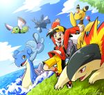 1boy ampharos backpack bag black_hair blue_sky brown_eyes clouds creatures_(company) flying game_freak gen_1_pokemon gen_2_pokemon gold_(pokemon) grass heracross lapras nintendo ocean poke_ball pokemon quagsire red_eyes running sayoyonsayoyo shorts sky smile swimming tree typhlosion xatu