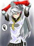 1girl android bangs black_skirt blush breasts eyebrows_visible_through_hair grey_hair hair_between_eyes hands_up highres kamui_sathi labrys long_hair looking_at_viewer neckerchief open_mouth outdoors persona persona_4:_the_ultimate_in_mayonaka_arena pleated_skirt ponytail rain red_eyes robot_joints sailor_collar school_uniform serafuku short_sleeves simple_background skirt solo standing upper_body water wet