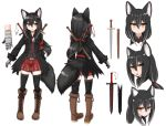 1girl animal_ear_fluff animal_ears belt black_hair black_jacket black_legwear boots brown_footwear cross-laced_footwear expressionless fang fox_ears fox_girl full_body gauntlets hair_ribbon horokusa_(korai) jacket jitome long_hair long_sleeves original parted_lips ponytail red_skirt ribbon scabbard sheath sheathed shirt short_sword simple_background single_gauntlet skirt smile sword thigh-highs weapon weapon_on_back white_background yellow_eyes zettai_ryouiki