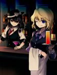 2girls bar black_hair blonde_hair blue_eyes bottle bow brown_eyes commentary_request cup denciu drinking_glass fedora hair_bow hat hat_bow highres maribel_hearn medium_hair multiple_girls necktie one_eye_closed short_hair tied_hair touhou tray usami_renko vest waiter