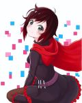 1girl black_hair blush boots breasts cape closed_mouth commentary_request frilled_boots frills grey_eyes head_tilt highres knee_boots long_sleeves looking_at_viewer multicolored_hair pixelated red_cape ruby_rose rwby short_hair smile solo white_background