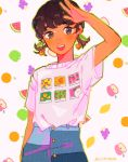 1girl apple bangs blush border brown_eyes brown_hair cherry denim earrings food fruit grapes green_apple green_border hand_up highres jeans jewelry leaf lemon open_mouth orange orange_slice original pants peach print_shirt routexx shirt shirt_tucked_in short_sleeves signature smile solo strawberry twintails watermelon white_background white_shirt