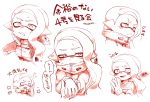 1girl blonde_hair blush blush_stickers closed_mouth domino_mask ear_blush fangs hand_holding high_collar highres inkling looking_at_viewer mask medium_hair pointy_ears pout simple_background solo splatoon splatoon_(series) splatoon_2 squidbeak_splatoon suction_cups tentacle_hair tona_bnkz translation_request v-shaped_eyebrows