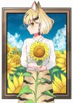 1girl absurdres animal_ears artist_name blonde_hair cat_ears closed_mouth earrings expressionless eyebrows_visible_through_hair flower green_eyes highres jewelry kemono_friends looking_at_viewer nail_polish ponta_(matsuokazieg) ring sand_cat_(kemono_friends) short_hair signature skirt solo sunflower yellow_nails