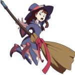 1girl boots broom brown_eyes brown_hair full_body hat kagari_atsuko little_witch_academia looking_back open_mouth parody showers-u sparkle transparent_background witch_hat yu-gi-oh!