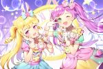 2girls :d ;d animal_ears arm_up azit_(down) blonde_hair blue_bow blue_shirt blue_skirt blurry blurry_background blush bow bubble clock commentary_request depth_of_field gloves green_eyes hair_bow hand_on_own_face hands_up heart highres holding holding_microphone idol_time_pripara long_hair manaka_lala microphone multiple_girls one_eye_closed open_mouth pink_bow pink_shirt pripara puffy_short_sleeves puffy_sleeves purple_hair rabbit_ears ringlets roman_numerals shirt short_sleeves skirt smile star twintails two_side_up v_over_eye very_long_hair violet_eyes white_gloves yellow_skirt yumekawa_yui