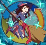 1girl boots broom brown_eyes brown_hair full_body hat kagari_atsuko little_witch_academia looking_back open_mouth parody showers-u sparkle witch_hat yu-gi-oh!