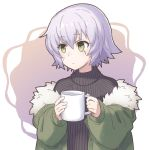 drawfag facial_scar fate/apocrypha fate/grand_order fate_(series) green_eyes holding jack_the_ripper_(fate/apocrypha) looking_at_viewer oversized_clothes scar scar_on_cheek short_hair simple_background sweater white_hair