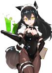 1girl absurdres alternate_costume bangs bendy_straw black_footwear black_gloves black_hair black_leotard blush breasts brown_hair brown_legwear choumi_wuti_(xueye_fanmang_zhong) commentary_request covered_navel cup drink drinking_glass drinking_straw elbow_gloves enmaided fang girls_frontline gloves gradient_hair hair_between_eyes head_tilt headgear highres holding holding_menu holding_tray judge_(girls_frontline) leg_garter leotard long_hair maid maid_headdress medium_breasts multicolored_hair pantyhose parted_lips puffy_short_sleeves puffy_sleeves sangvis_ferri shoes short_sleeves simple_background solo standing standing_on_one_leg strapless strapless_leotard tray v-shaped_eyebrows very_long_hair white_background yellow_eyes