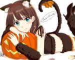 1girl animal_ears black_footwear black_ribbon black_shorts brown_hair brown_sleeves cat_ears cat_tail crop_top detached_sleeves earrings frilled_shorts frills green_eyes halloween halloween_costume high_heels highres idolmaster idolmaster_cinderella_girls jewelry long_hair looking_at_viewer lying on_stomach orange_legwear orange_ribbon pumpkin pumps ribbon shibuya_rin shiki_(0802makimari) shiny shiny_hair short_shorts shorts smile solo tail tail_ribbon thigh-highs