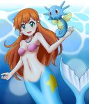 1girl :d blue_eyes breasts breath collarbone commentary_request creatures_(company) earrings eld_(ljhlee12) game_freak gen_1_pokemon highres horsea jewelry kasumi_(pokemon) long_hair looking_at_viewer mermaid monster_girl navel necklace nintendo open_mouth orange_hair pink_bikini_top pokemon pokemon_(anime) small_breasts smile solo underwater