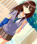 1girl bag blurry blurry_background brown_hair brown_skirt cellphone collared_shirt cowboy_shot day dutch_angle earrings green_eyes green_neckwear grey_sweater highres holding holding_bag holding_phone idolmaster idolmaster_cinderella_girls jewelry long_hair looking_at_viewer miniskirt multicolored_hair necktie outdoors parted_lips phone pleated_skirt purple_hair school_bag shibuya_rin shiki_(0802makimari) shiny shiny_hair shirt short_sleeves skirt smartphone solo standing striped striped_neckwear sweater sweater_vest two-tone_hair white_shirt
