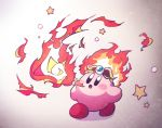 amedama_(akaki_4207) black_eyes blush breathing_fire circlet copy_ability fiery_hair fire flame gradient gradient_background kirby kirby_(series) nintendo no_humans no_nose open_mouth star
