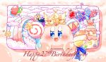 balloon birthday blue_eyes cake candy food fork gooey heart kirby kirby_(series) lollipop maxim_tomato nintendo qb_smith spoon star waddle_doo