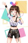 1girl a.i._channel absurdres alternate_hairstyle arm_up black_bra blush bra bracelet breasts brown_hair choker cleavage collarbone eyebrows_visible_through_hair green_eyes highres jewelry kizuna_ai long_hair looking_at_viewer medium_breasts miudo navel one_eye_closed short_shorts shorts side_ponytail solo sports_bra standing underwear