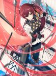 1girl 40hara arrow closed_mouth company_name copyright_name fire_emblem fire_emblem_cipher fire_emblem_if gloves highres holding holding_sword holding_weapon long_hair long_sleeves luna_(fire_emblem_if) nintendo official_art redhead scabbard sheath smile solo sword twintails water weapon