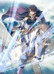 1girl 40hara blue_eyes breastplate brown_hair cape company_name copyright_name elbow_gloves fire_emblem fire_emblem:_souen_no_kiseki fire_emblem_cipher gloves headband highres holding holding_sword holding_weapon nintendo official_art open_mouth pegasus pegasus_knight riding short_hair solo sword tanith weapon
