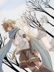 1boy 1girl arm_tattoo arms_around_waist bare_shoulders blonde_hair blue_eyes blue_scarf bow brother_and_sister clenched_hands comforting consoling crying crying_with_eyes_open detached_sleeves dutch_angle ghost hair_bow hair_ornament hairclip headphones headset hug hug_from_behind kagamine_len kagamine_rin leg_warmers necktie number_tattoo sailor_collar scarf setora shirt short_hair shorts siblings sleeveless sleeveless_shirt soundless_voice_(vocaloid) spirit surprised tattoo tears translucent transparent tree twins vocaloid yellow_neckwear