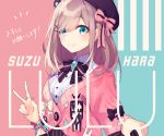 1girl :3 badge bangs black_bow blue_background blue_eyes bow brooch character_name closed_mouth commentary eyebrows_visible_through_hair hair_between_eyes hair_bow hair_over_one_eye hat heart jacket jewelry looking_at_viewer medium_hair nail_polish nijisanji pink_background pink_bow pink_jacket pink_nails ring saine shirt solo star suzuhara_lulu sweater_jacket two-tone_background upper_body v virtual_youtuber white_bow white_shirt