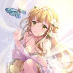1girl animal bangs bare_shoulders blonde_hair blurry blurry_foreground blush bow braid breasts bug butterfly cleavage closed_mouth collarbone commentary_request curtain_grab curtains depth_of_field detached_sleeves dress eyebrows_visible_through_hair flower green_eyes hair_between_eyes hair_bow hair_flower hair_ornament highres insect knee_up long_hair long_sleeves medium_breasts original puracotte sitting sleeveless sleeveless_dress solo transparent very_long_hair white_bow white_dress white_flower white_sleeves wide_sleeves
