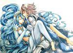 absurdly_long_hair aqua_(fire_emblem_if) armor blue_hair cape closed_eyes dress fire_emblem fire_emblem_if hand_holding long_hair male_my_unit_(fire_emblem_if) my_unit_(fire_emblem_if) nintendo pointy_ears shiratsu_(white-seaside) smile very_long_hair white_hair yellow_eyes