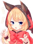 1girl :d animal_ears bangs beniya_ria blonde_hair blue_eyes blush bow brown_shirt check_translation claw_pose commentary_request ears_through_headwear eyebrows_visible_through_hair fang fingernails hair_between_eyes hands_up highres hood hood_up long_hair long_sleeves looking_at_viewer open_mouth puffy_long_sleeves puffy_sleeves red_bow ribbon-trimmed_hood ribbon_trim ryuuseigun_project shirt smile solo translation_request virtual_youtuber white_background wolf_ears yuku_(kiollion)