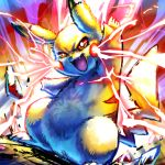 brown_fur fangs gen_1_pokemon ginziro no_humans pikachu pokemon striped tail yellow_fur