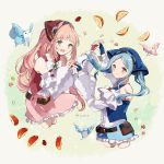 2girls apple bandanna belt belt_pouch bird blue_eyes blue_gloves blue_hair closed_mouth felicia_(fire_emblem_if) fingerless_gloves fire_emblem fire_emblem_heroes fire_emblem_if flora_(fire_emblem_if) food fruit gloves grey_eyes hand_holding highres long_hair long_sleeves multiple_girls nintendo open_mouth orange pink_hair ponytail pouch shorts siblings sisters skirt squirrel strawberry twintails twitter_username yuuri_(114916)