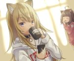 2girls absurdres animal_ear_fluff animal_ears black_choker blonde_hair brown_hair cat_ears cellphone choker cup day dog_ears drinking highres hood hoodie kmnz kugatsu_tooka long_hair long_sleeves mug multiple_girls naked_hoodie no_hat no_headwear phone pink_hoodie short_hair sleepy smartphone tears virtual_youtuber white_hoodie yawning