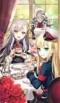 3girls :d ahoge blonde_hair blue_eyes chair closed_eyes commentary_request craft_essence cup curtains fate/grand_order fate_(series) flower food fork gloves golem grey_hair hair_ribbon hat head_tilt holding holding_cup light_blush long_hair looking_at_viewer looking_back maid maid_headdress mini_hat morikura_en multiple_girls official_art olga_marie_animusphere open_mouth plate red_flower red_rose reines_el-melloi_archisorte ribbon rose saucer sitting smile table teacup trimmau volumen_hydragyrum white_gloves window yellow_eyes yellow_ribbon