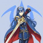 1girl absurdres armor blue_eyes blue_hair cape dakkalot falchion_(fire_emblem) fingerless_gloves fire_emblem fire_emblem:_kakusei fire_emblem_heroes fire_emblem_musou gloves hair_between_eyes highres intelligent_systems long_hair looking_at_viewer lucina nintendo simple_background smile solo super_smash_bros. super_smash_bros._ultimate super_smash_bros_brawl super_smash_bros_for_wii_u_and_3ds sword tiara weapon