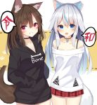 2girls animal_ear_fluff animal_ears bangs black_choker black_hoodie blue_eyes blue_hair blush brown_background brown_hair choker collarbone commentary_request dog_ears dog_tail dotted_line eyebrows_visible_through_hair fang grin hair_between_eyes highres hood hood_down hoodie long_hair looking_at_viewer mizuki_ryuu multicolored_hair multiple_girls off-shoulder_shirt off_shoulder open_mouth original plaid plaid_skirt pleated_skirt red_eyes red_skirt shirt silver_hair skirt smile streaked_hair tail translation_request two-tone_background very_long_hair violet_eyes white_background white_shirt