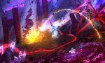 1girl 2boys battle debris demon_pillar_(fate/grand_order) fan fate/grand_order fate_(series) flower lord_el-melloi_ii magic merlin_(fate) multiple_boys otsumami_(bu-bu-heaven) petals pillar runes scathach_(fate)_(all) scathach_skadi_(fate/grand_order) sky star_(sky) starry_sky waver_velvet