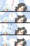 /\/\/\ 2girls 4koma :d =_= absurdres ahoge azur_lane bandaid bandaid_on_nose bangs black_hair blue_hair blush cassin_(azur_lane) chibi closed_eyes closed_mouth comic commander_(azur_lane) commentary_request directional_arrow downes_(azur_lane) eyebrows_visible_through_hair fang fang_out gloves hair_between_eyes hair_ornament hairclip hand_up hands_up heart heterochromia highres kurukurumagical long_sleeves mole mole_under_eye multiple_girls mvp o_o open_mouth orange_eyes petting red_eyes smile v-shaped_eyebrows white_gloves