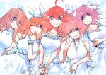 5girls bangs bare_shoulders blue_eyes bracelet breasts brown_hair collarbone crossed_arms dress earrings flower go-toubun_no_hanayome hair_between_eyes hair_ornament hair_ribbon halterneck highres jewelry large_breasts long_hair lying marcey multiple_girls nakano_ichika nakano_itsuki nakano_miku nakano_nino nakano_yotsuba on_back one_eye_closed orange_hair pink_hair redhead ribbon ring short_hair smile star star_hair_ornament wedding_band wedding_dress white_ribbon