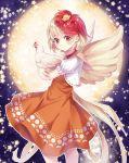 1girl bird blonde_hair chicken commentary dress full_moon hichou highres looking_at_viewer moon niwatari_kutaka orange_dress red_eyes wily_beast_and_weakest_creature