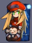 1girl alternate_hair_length alternate_hairstyle animal blonde_hair blush breasts brown_gloves cabbie_hat capcom dakusuta data_(rockman_dash) gloves green_eyes hair_between_eyes hat highres holding holding_animal long_hair medium_breasts monkey moon outside_border red_headwear ribbed_sweater rockman rockman_dash roll_caskett sidelocks solo sweater turtleneck turtleneck_sweater