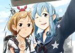 2girls animal animal_on_head bandaid bandaid_on_face black_neckwear blue_eyes blue_hair blue_sailor_collar bonjin brown_hair cellphone commentary_request crab crab_on_head gotland_(kantai_collection) hair_bun kantai_collection long_hair long_sleeves machinery military military_uniform mole mole_under_eye multiple_girls neckerchief oboro_(kantai_collection) on_head phone sailor_collar school_uniform self_shot serafuku short_hair smoke smokestack torn_clothes uniform